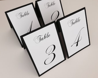 SALE 20% off this week! Tented Wedding Table Numbers in black and white.