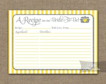 bridal shower recipe cards yellow gray instant download printable yellow silver shower recipe card