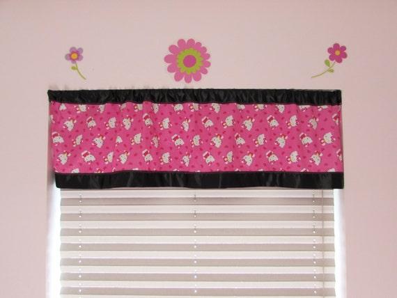 Hello Kitty satin edge curtains/cotton valance/black satin edge