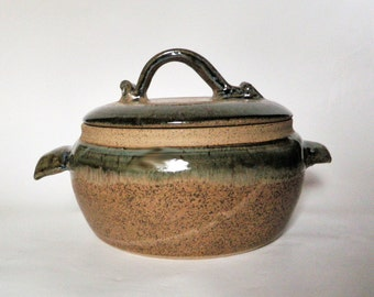 Tan and Green Stoneware Casserole