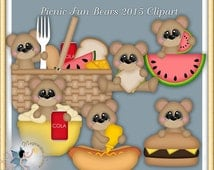 Picnic Clipart, Summer Teddy Bear, Picnic Fun Bears 2015