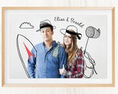 Digital Drawing on Photo! Wedding gift - Couple portrait (2 persons) - Baby Announcement - Printable, Perfect and Unique gift for lovers