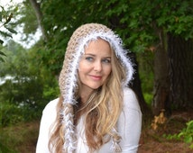 Hand Knitted Crochet Women's Pixie Elf Fairies Hat Bonnet Soft Light Brown White Faux Fur Trim