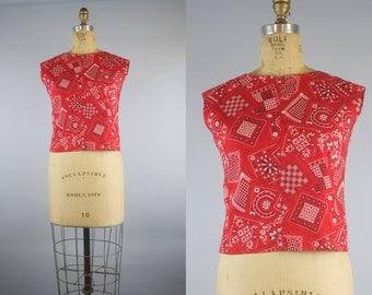 50s Blouse /  Red Bandana Blouse / 1950s Blouse