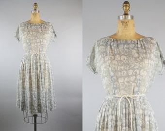 Light Breeze Dress / 50s Dress / 1950s Gray Dress