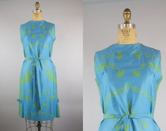 New Leaf Dress / 50s Dress / 1950s Shift Dress