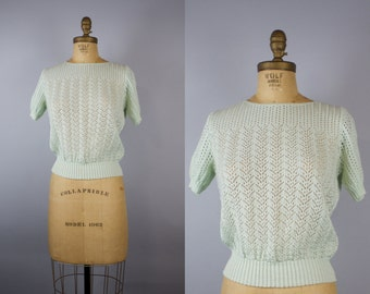 Mint Eyelet Pinup Sweater / 50s Swear / 1950s Pinup Sweater