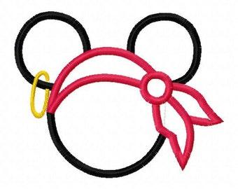Mr. Mouse Pirate Applique Design Machine Embroidery Design 4x4 and 5x7 mickey