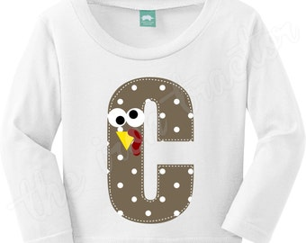 Thanksgiving Initial Polka Dot Turkey Initial Outfit  Add a Bow for a girl!