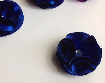 Royal blue flower appliqué, crafts and supplies, headband making materials, wedding and birthday decor materials, craft supplies