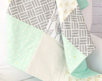 Mason's Mint and Gold Baby Quilt