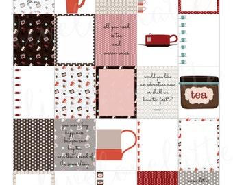 RETRO TEA for use with Erin Condren Life Planner (vertical) - digital - Instant Download