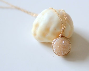 Peach Champagne Druzy Quartz Necklace, 14k Gold Fill Chain