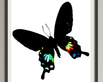 Butterfly art print poster watercolor wall art decor silhouette painting artwork, living room wall art