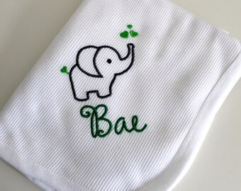 Baby Thermal Waffle Weave Receiving Blanket, Name With Elephant, Baby Blanket
