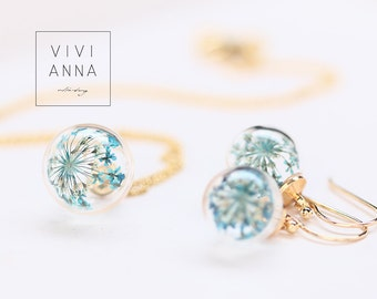 Mini 16K gold set with turquoise dill flowers - set030
