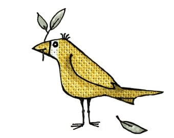 MUSTARD bird , A gorgeous ochre coloured, friendly looking bird holding a leaf..Printed card from collage original.