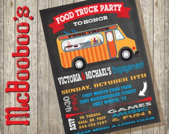 Food Truck Party Invitations on a chalkboard background