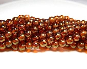 6mm Rose Gold Topaz Czech Beads, 6mm Topaz Beads, 6mm Dark Orange Beads, Topaz Luster Beads, Orange Glass Beads, 6mm Czech Beads D-D06
