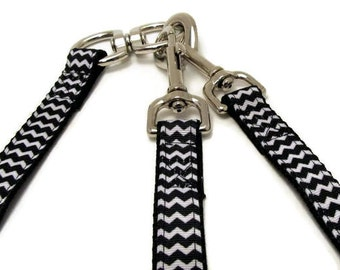 No Tangle Adjustable Double or Triple Dog Leash Black and White Chevron
