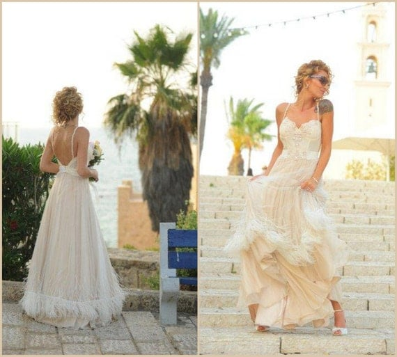 Chic wedding dress boho wedding dress lace by yasminelayani for Bohemian wedding dress shops