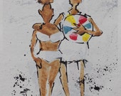 Summer Beach Lerew Blot Figures original acrylic painting, watercolor paper, figurative, drawing, art, grandpa, granddaughter, vacation,