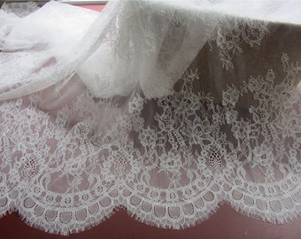 Chantilly Eyelash Lace Trim, Chantilly Lace Fabric, 59 inches Wide for Veil, Dress, Costume, Craft Making, 3 Meter/piece