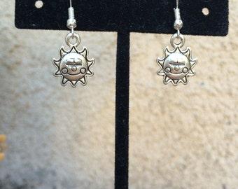 Cute little happy smiling sun sunshine earrings