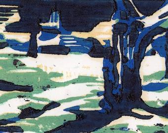 Original Landscape Block Print - Nightwood - Woodblock Print