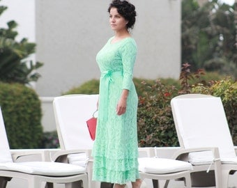 Women's Long Stretch bridesmaid  Lace Dress with satin sash included.