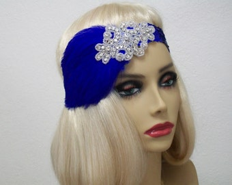 Royal Blue 1920s Headband, Flapper Headband, 1920s Headpiece, Jazz Age Fashion, Flapper Women, 1920s Hair Accessory, Vintage Inspired