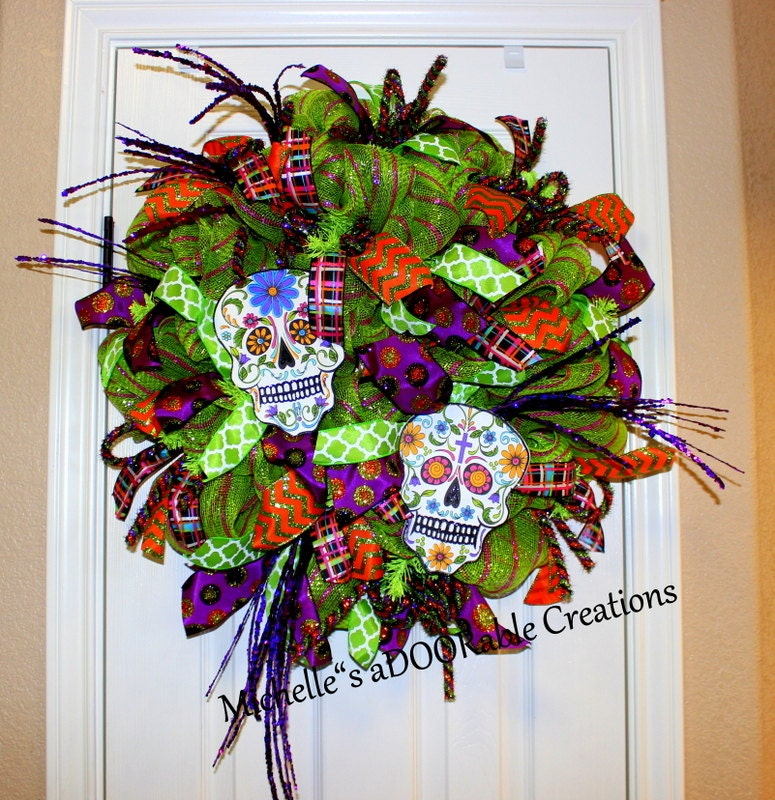 Sugar Skull Wreath Halloween Sugar Skull Wreath Day of the