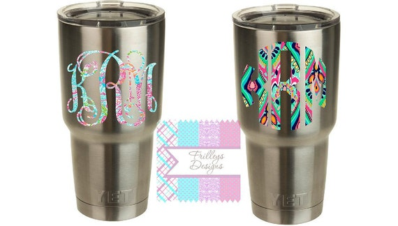 Yeti Decals Lilly Stickers Tumblers Monograms Cups - Stickers for yeti cups