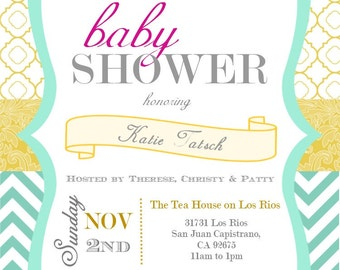Aqua & Yellow Baby Shower/Sprinkle Invitation