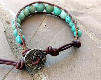 Handmade Boho style leather and turquoise single wrap bracelet
