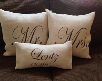Mr. and Mrs. Pillows, Burlap Pillow, Monogrammed Pillows, Wedding Gift, Anniversary Gift, His and Hers, Rustic Wedding, Personalized Gift