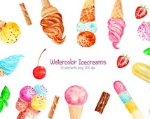 Hand painted watercolor Ice Cream Clipart printable instant download