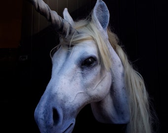 Faux Taxidermy Unicorn Head Animal Friendly Decorative Art Handmade in Wales, Great Britain Life Size