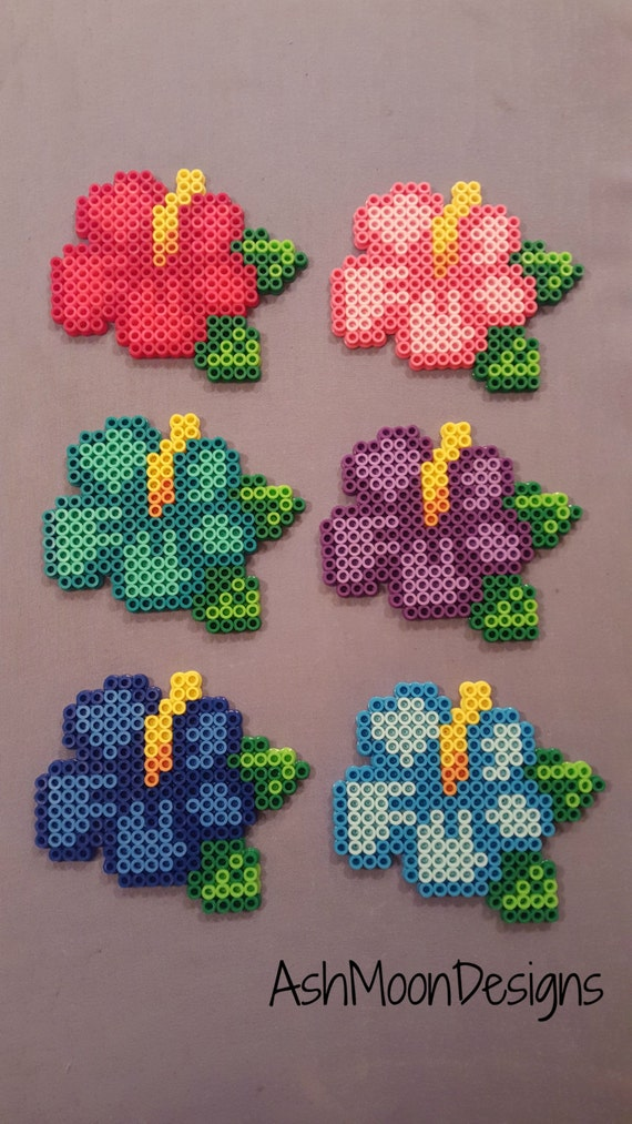 items similar to perler bead hibiscus flowers on etsy