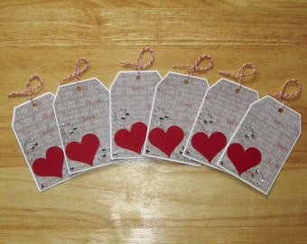 Heart Gift Tags - Love Gift Tags - Wedding Favor Gift Tags - Anniversary Gift Tags - Party Favor Tags - Hang Tags - Gift Tag Set of Six (6)