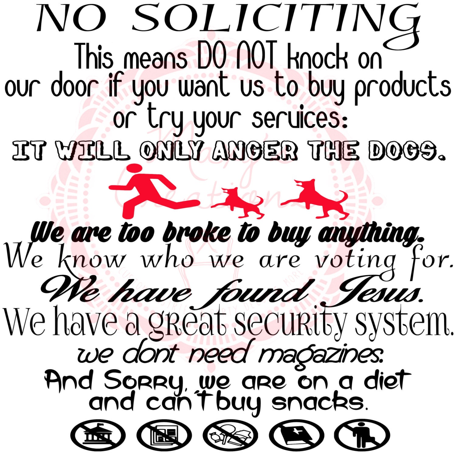 Peaceful image within funny no soliciting sign printable