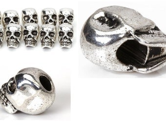 10 Pieces Of Tibet Silver Skull Spacer Beads, Great Accessories for Necklace, Bracelets and Earrings Making, Silver Antique Skull Art Beads