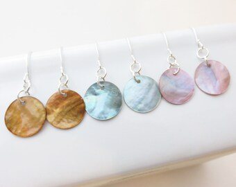 Mini Mussel Shell Earrings - Choose Color, Butterscotch, Grey Blue, Pink, Shell Disc Earrings, Beach Wedding Jewelry, Bridesmaid Earrings