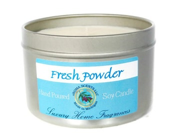 Baby Powder candle - soy candles - scented candles - 8 oz candle tin - powder candle - wholesale candles - Made in Michigan