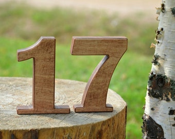 SALE 1-15 4'' Rustic Brown Wooden Number Free Standing Wedding Table Number for Rustic Wedding, Stand Alone Cafe or Restaurant Table Numbers