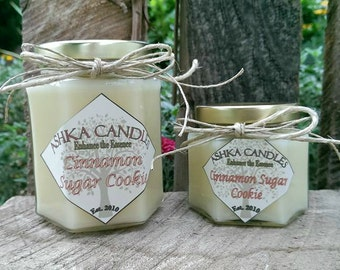 Small CINNAMON SUGAR COOKIE Soy Candles! 4oz sugar cookie candle, cinnamon fragrance, cinnamon candle, vanilla candle, buttercream candle