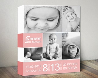 Custom Baby Picture Collage Stats Canvas Wall Art Print, First Birthday Photo Collage & Birth Stats Canvas Print, Birth Details with Photos