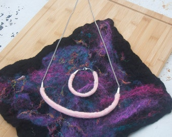 Felted Jewelry Set Gift For Her Felted Rope Necklace and Bracelet Set, Pink Alpaca/Silk Blend Felted Rope, Matching Felted Jewelry Set