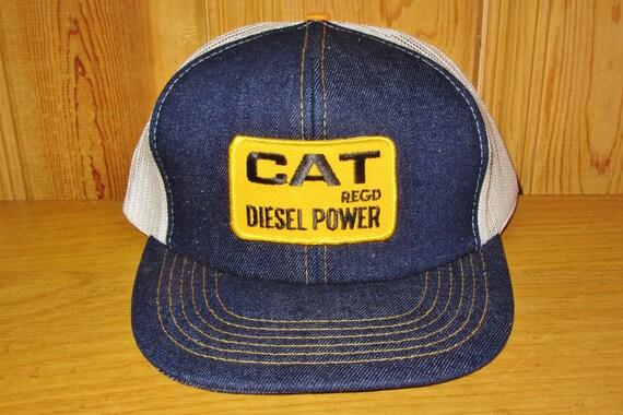 Vintage Snapback Hats >> CAT Diesel Power Original Vintage 80s Denim Front White Mesh