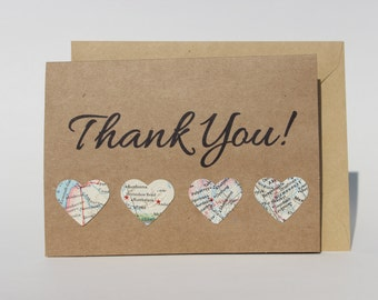 Thank You Card - Vintage Map Card - Travel Card - Map Hearts - Map Card - Kraft Card